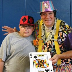 Student Russell DeMocker shared the spot light with Rich the Magic Man at the special Ridgecrest Academy assembly.