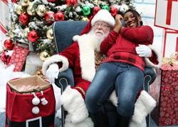 Happy friend with Santa.