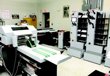 View of the print shop equipment