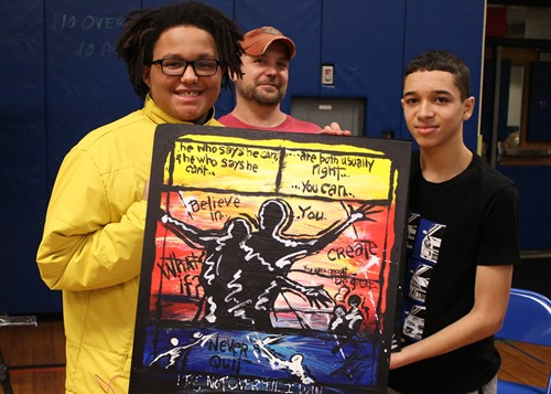Winner Anthony Washington with artist SBA Eric Warren and student Gabe Collazo.