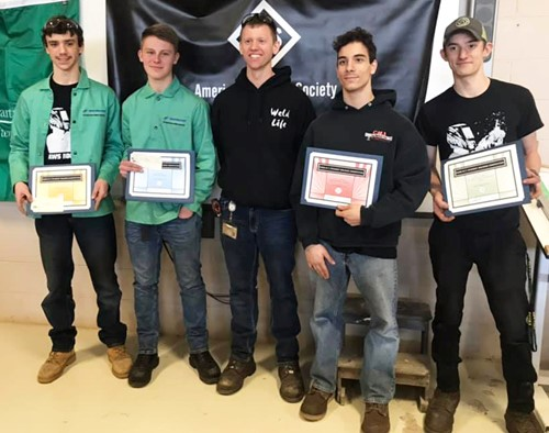 (l-r) Gage Vogt, Trent King, BOCES 2 CTE welding teacher Josh Padlick, Nick Romano and Jordan Sobolew