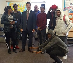 Assistant DA Kyle Steinebach with AHS students