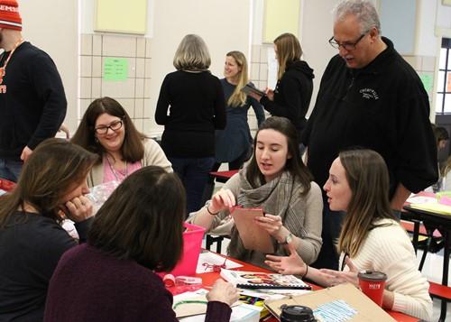 Megan Hugg with Churchville Elementary School Principal Dave Johnson and teachers.