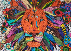 Colorful lion's head poster