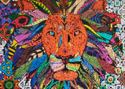 Brightly colored lion graphic
