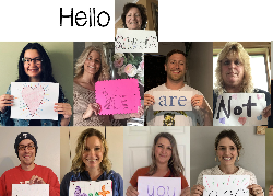 Pictures of teachers holding message signs
