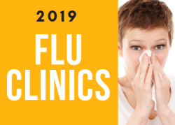 2019 Flu Clinics with photo of sick woman