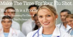 Image of smiling physicians: Make the time for your flu shot.