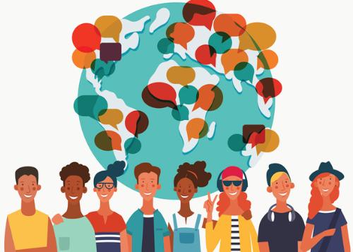 Illustration of many students speaking many languages