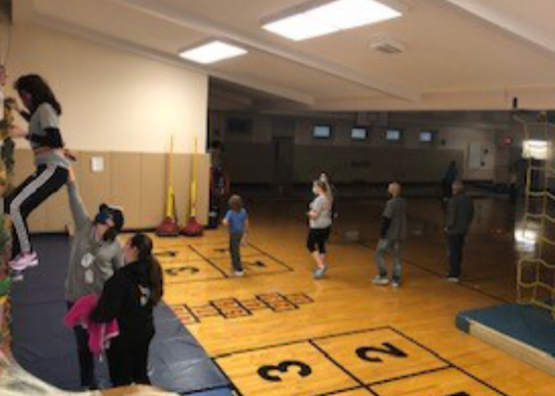 Students in the Ridgecrest Academy gym