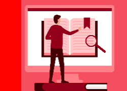Icon showing person searching digital book