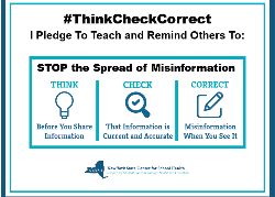#ThinkCheckCorrect pledge graphic