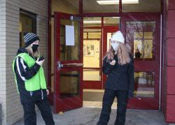 Two criminal justice students working security at WEMOCO