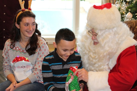 Student receives gift from Santa