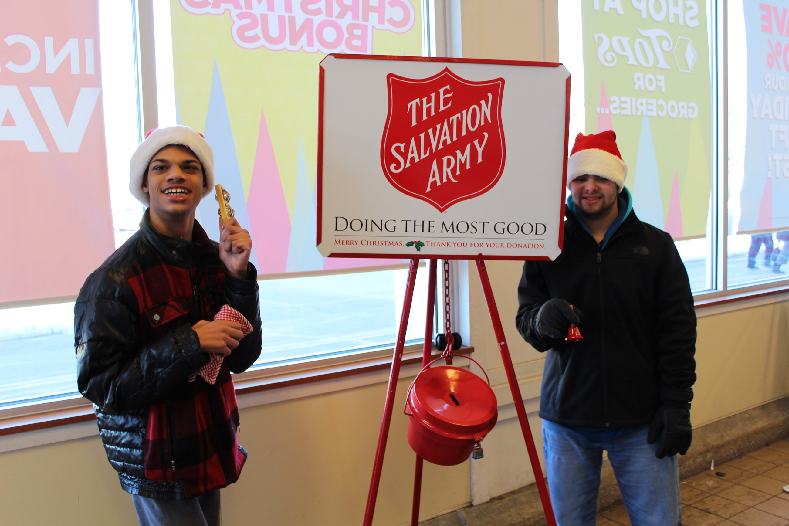 Students ringing bells for the Salvation Army
