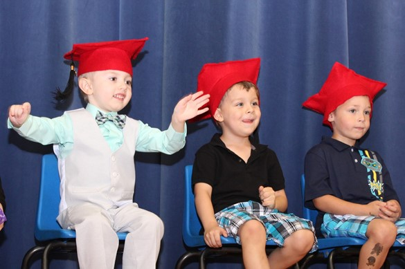 preschoolers wearing caps at graduation