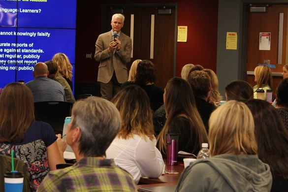 Nationally-known speaker Rick Wormeli works the crowd.