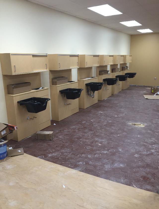 Cosmetology classroom under construction