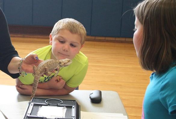 Students examing a lizard.