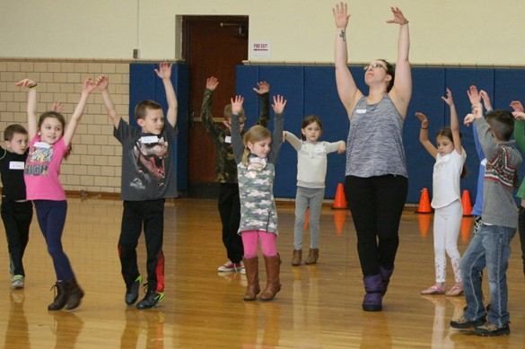 Dance class in the gym.