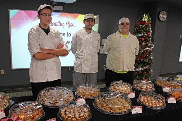 Students catering an event at the PD Center.