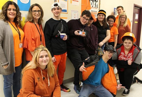 Westside Academy staff & students elebrating kindness and wearing orange on Unity Day