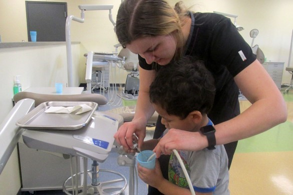 CTE dental student working with BOCES preschool student.