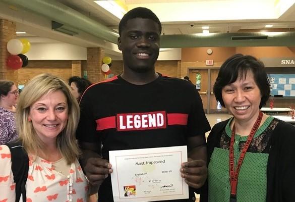 Student with ELA award