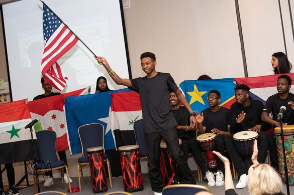 Students with different flags