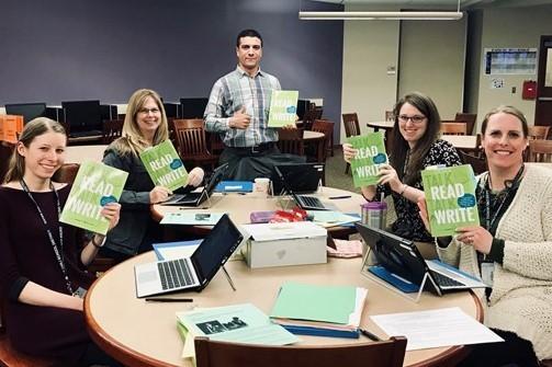Teachers with books