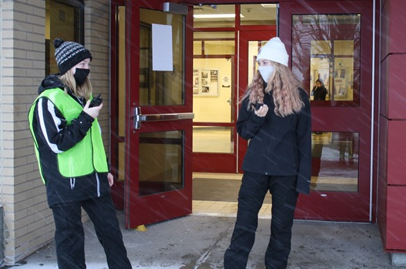 Two criminal justice students working security on the WEMOCO campus