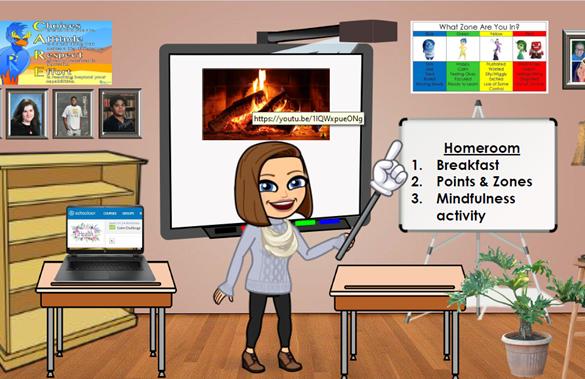 Virtual classroom screen with avatar