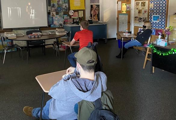 Connecting with GEVA Theatre via video conferencing at SAB