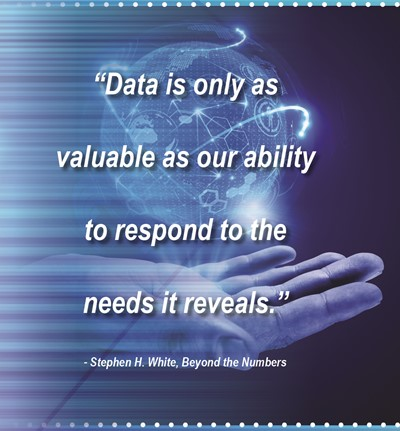 "Graphic image with quote ""Data is only as valuable as our ability to respond to the needs it reveals."""