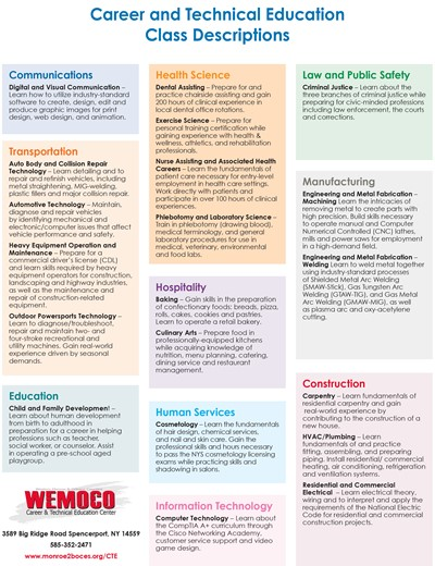 Listing of 2021-22 Middle Skills class offerings at WEMOCO Career and Technical Center