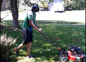 Darth Vader mowing the lawn