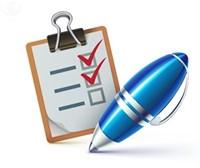 Clipboard, checklist, pen