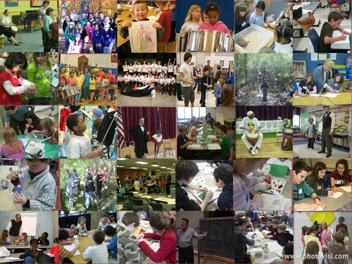 Collage of photos of children participating in Project Adept activities.